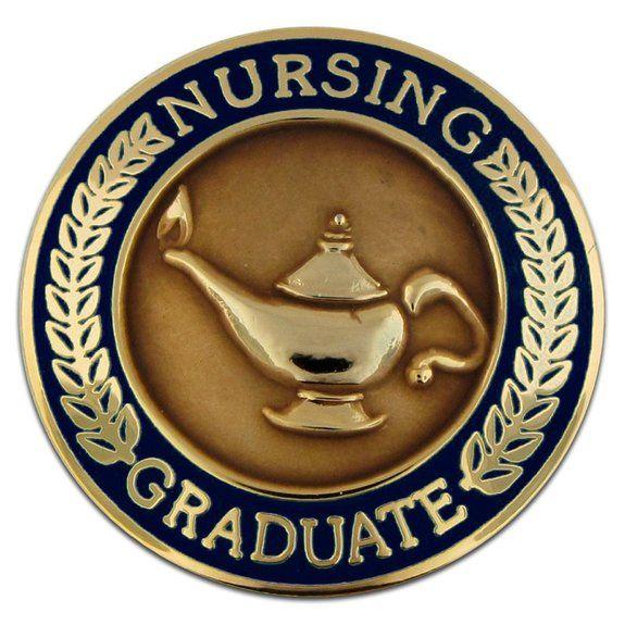 PinMart Nursing Graduate Lamp of Knowledge Circle Teal Enamel Lapel Pin