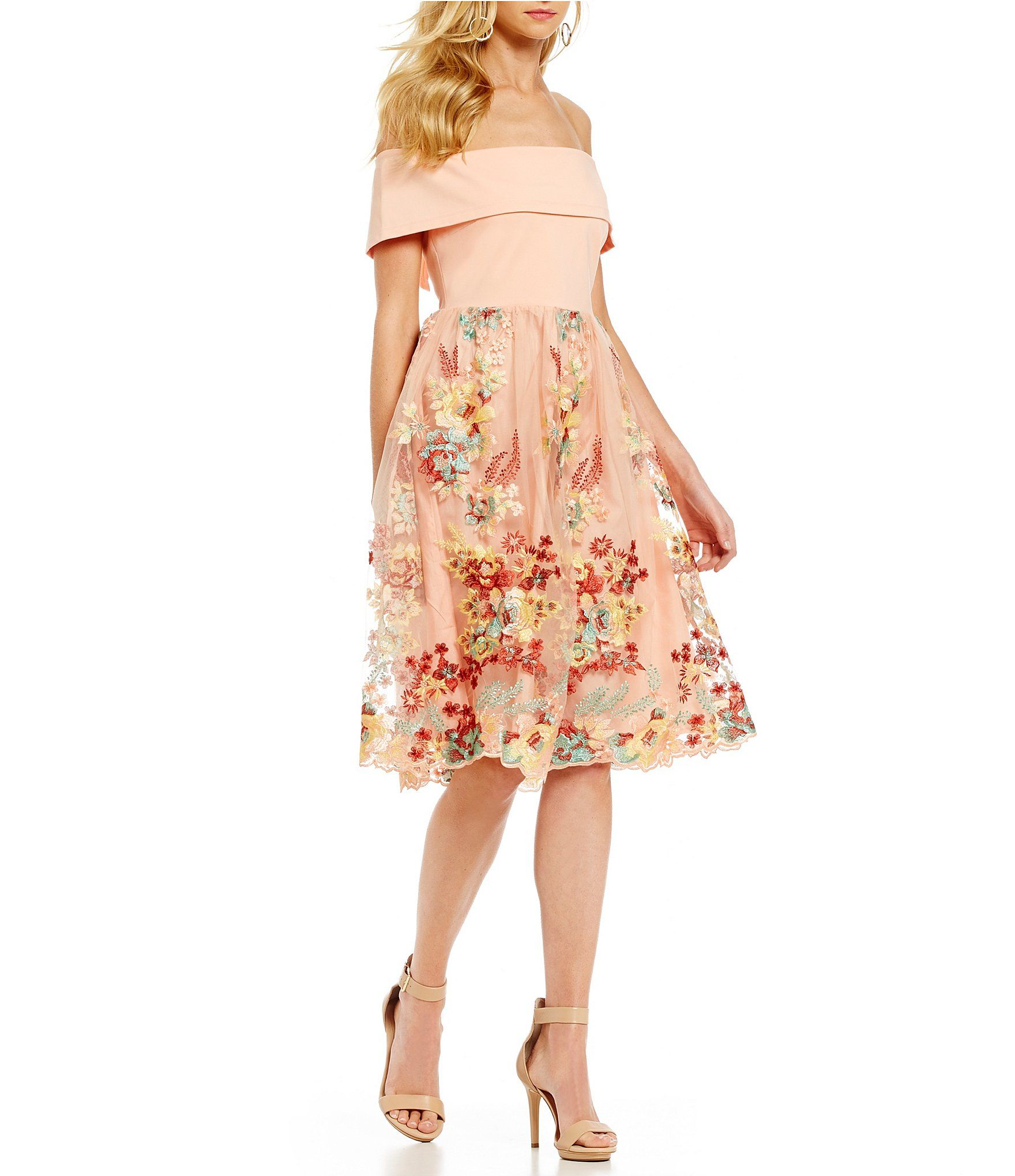 0d2093eef1 Gianni Bini Dana Off The Shoulder Embroidered Skirt Dress – DACC