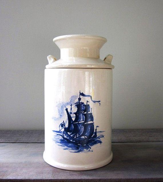 Delft ship crock canister.