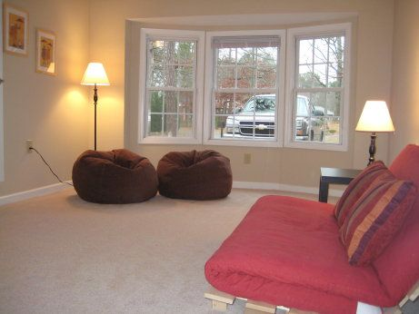 The Second Chance House Staging Pics Garage To Living Space Garage Conversion To Family Room Garage Bedroom Conversion