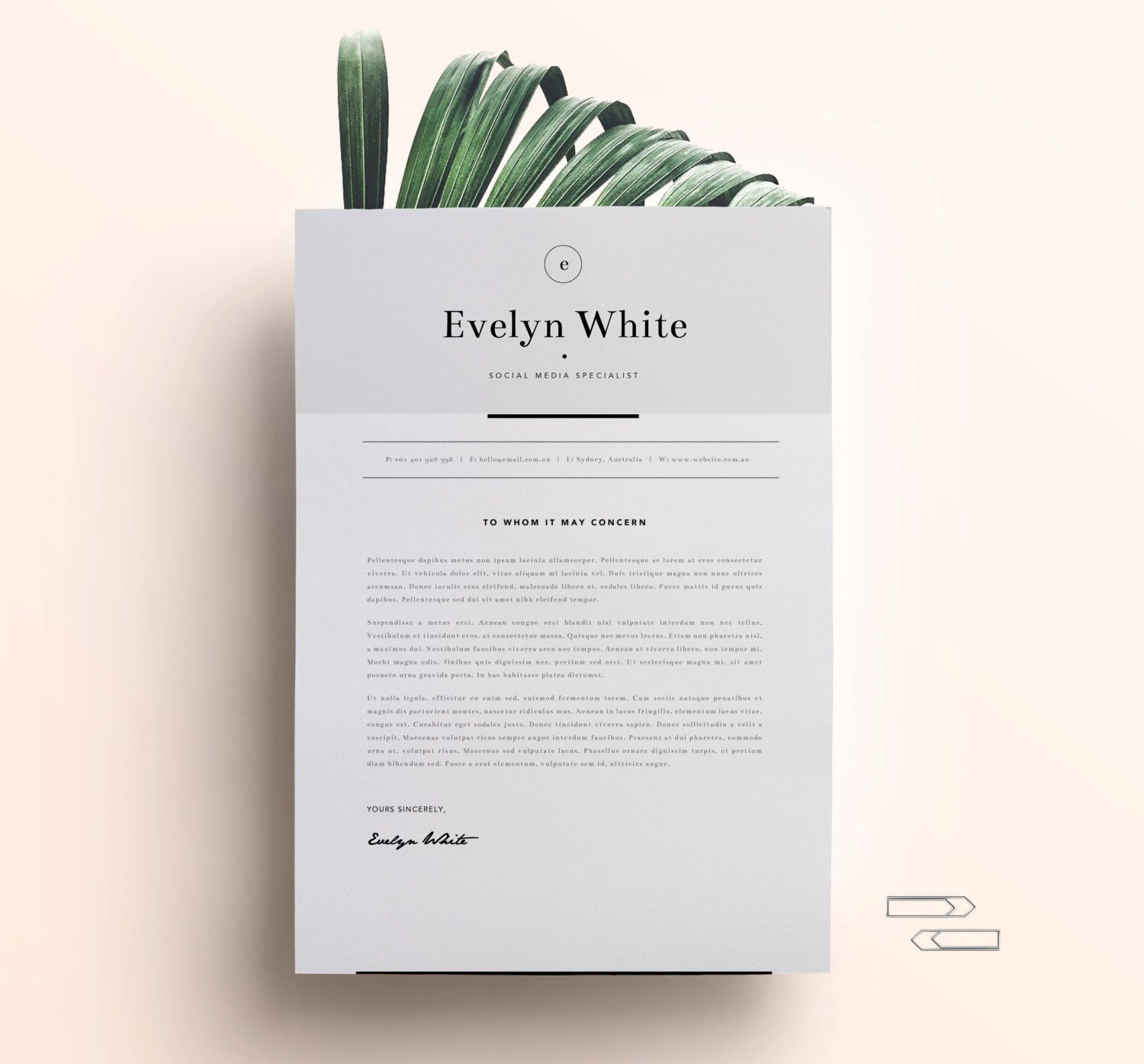 Resume Template 4 Page CV Template w. Cover Letter by