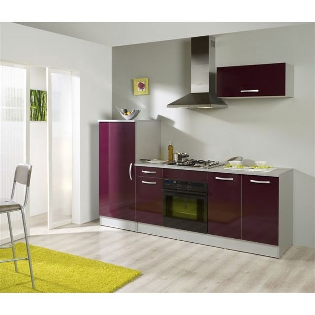 Glossy Cuisine Complete Lineaire Meubles Bas Hauts Armoire 240 Cm Aubergine Brillant Kitchen Remodel Kitchen Kitchen Renovation