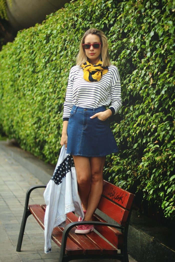 american flag, denim skirt, eBay, fashion blogger, MY SHOWROOM, sailor stripes, skater skirt, superga, sweet look, teenvogue,