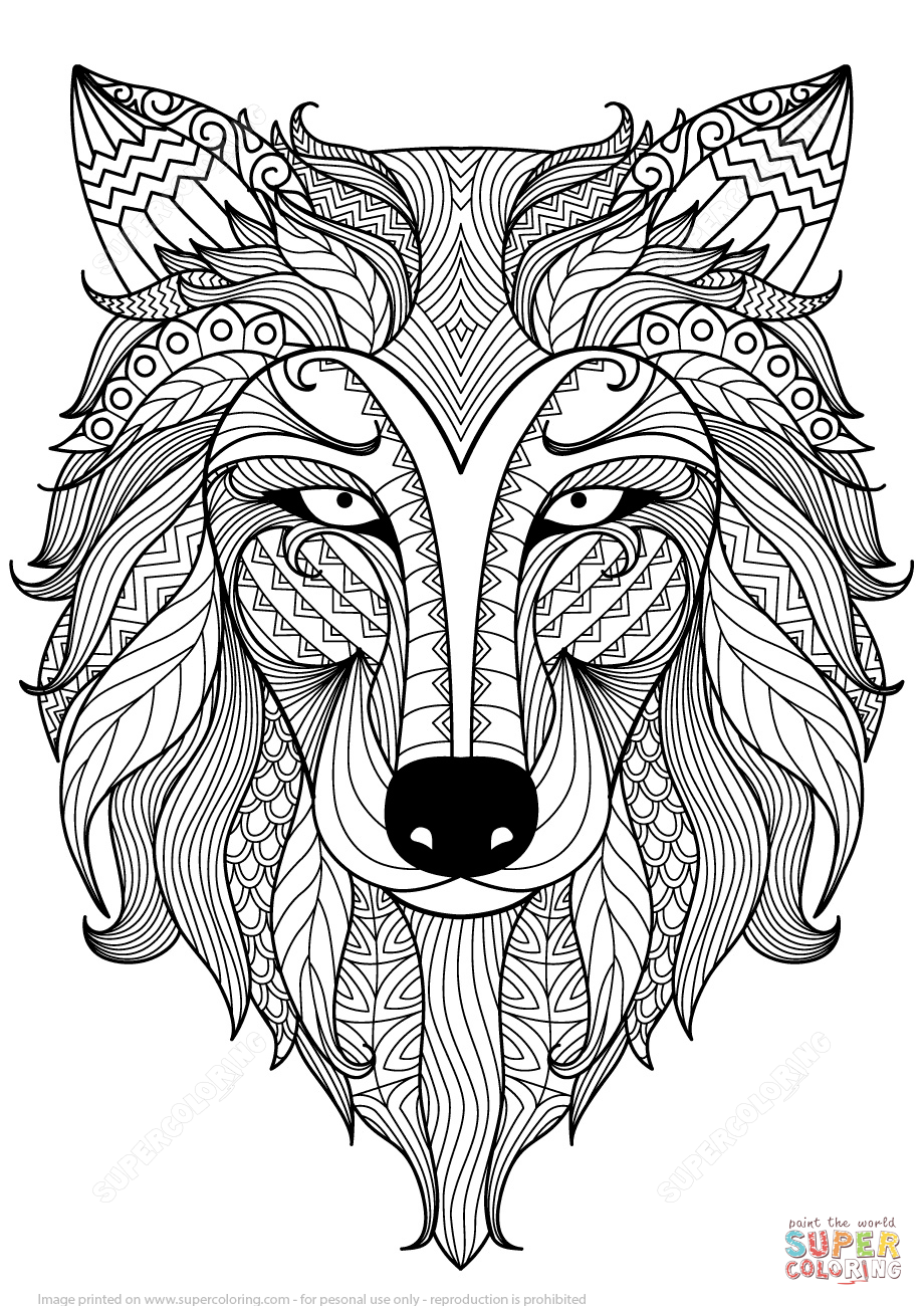 Click the Wolf Zentangle coloring