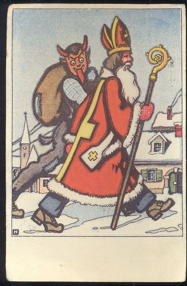 Vintage Old Postcard Santa Claus and Devil - Buffer Walks in the