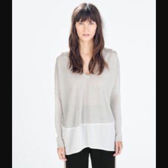 a24f2ece87 Two-Tone V-neck Top NWT Zara W/8 Collection grey & white colorblock ...