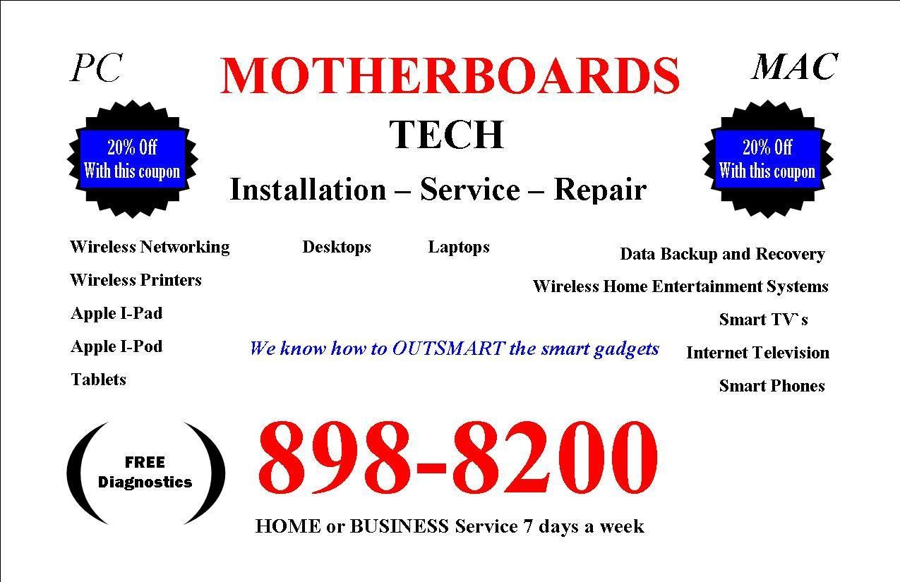 MotherBoards TECH. Computer repair in Savannah. PC, MAC, Networking, Data Recovery and transfer,Tablets, Wireless, Printers, Technology service and repair