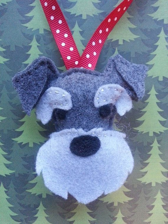 Made to order Hand Sewn Felt Schnauzer Christmas Tree Ornament. Great gift  for dog lovers. - Made To Order Hand Sewn Felt Schnauzer Christmas Tree Ornament