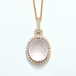 Rose quartz, diamond and rose gold pendant