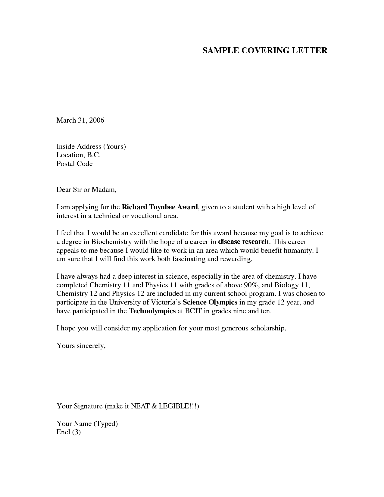 Cover Letter Example For Job Application cover letter