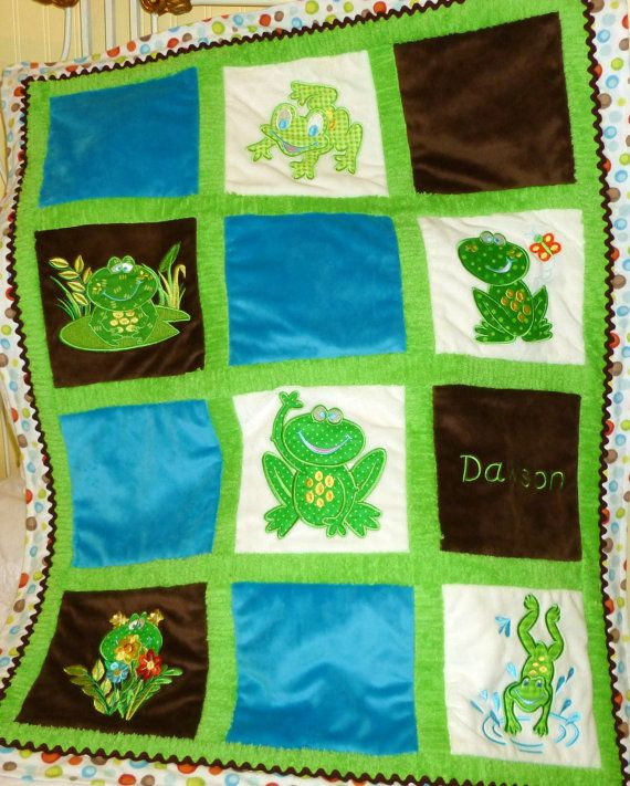Appliqued Minky Frog Baby Quilt  More by tlcblanketsandthings, $95.00