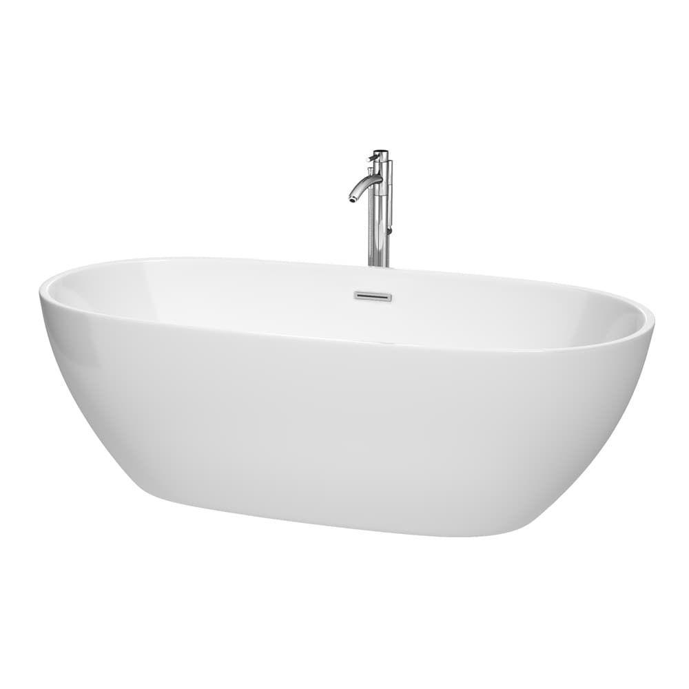 Wyndham Collection Juno White 71-inch Freestanding Bathtub (chrome ...