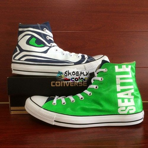 caf8793649f2 Mens Converse Shoes Seattle Seahawks Hand Painted Canvas Sneakers ...