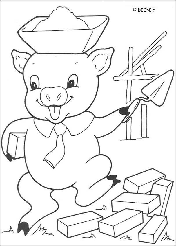 three little pigs coloring pages - big bad wolf is blowing ... - Pigs Coloring Pages