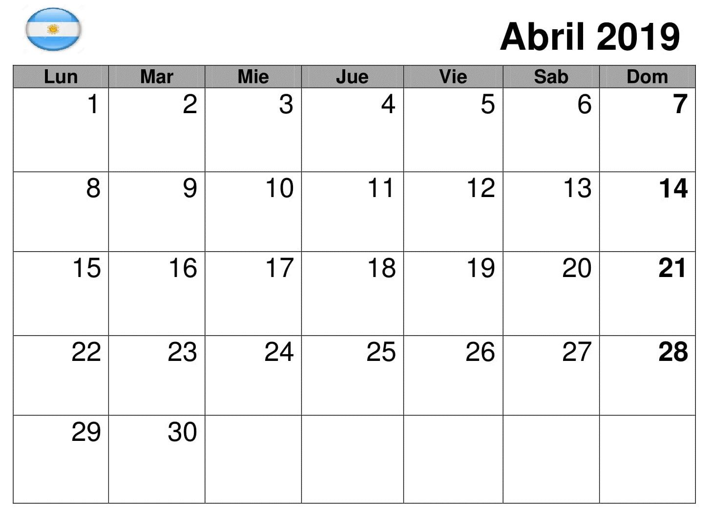Calendario Abril Argentina Estilos