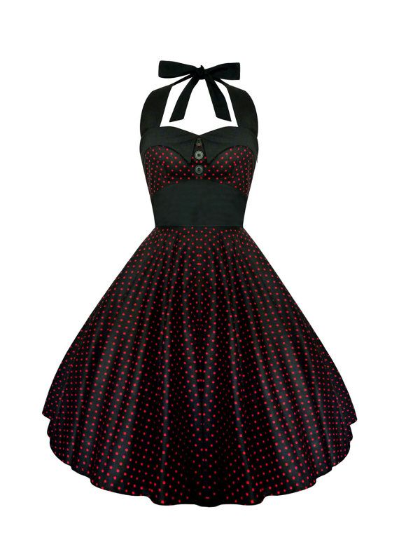 Black And Red Polka Dot Dress Vintage Rockabilly Dress Pin Up Dress