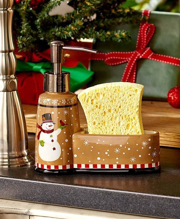snowman christmas soap pump sponge holder country kitchen bathroom home decor unbranded