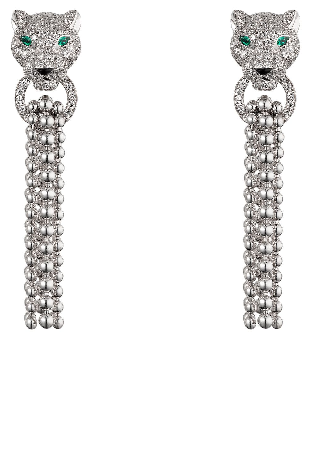 Cartier Panthère De Earrings 18k White Gold Emeralds Onyx Diamonds 49 800 Available At Boutiques Nationwide Harpersbazaar