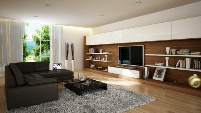 Wohnzimmereinrichtung Ideen Wohnwand Idee Braun Holz Regale Schwarz Ledersofa