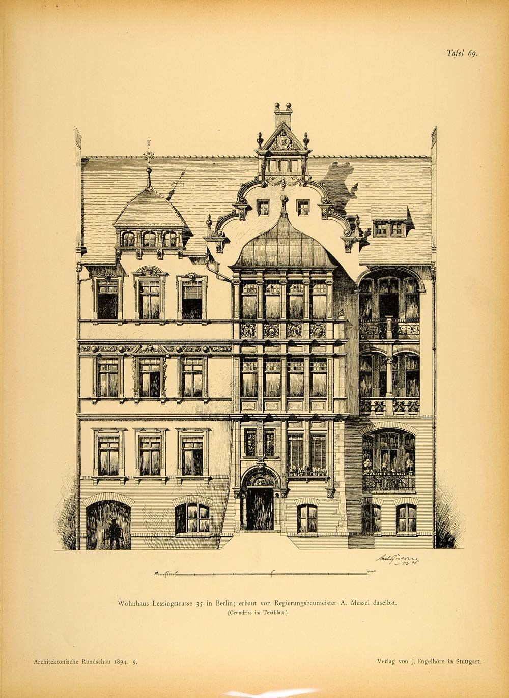 1894 House Lessingstrasse 35 Berlin Architecture Print