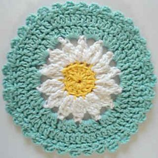 Crochet daisy discloth. Made with worsted weight cotton yarn. Easy skill level.