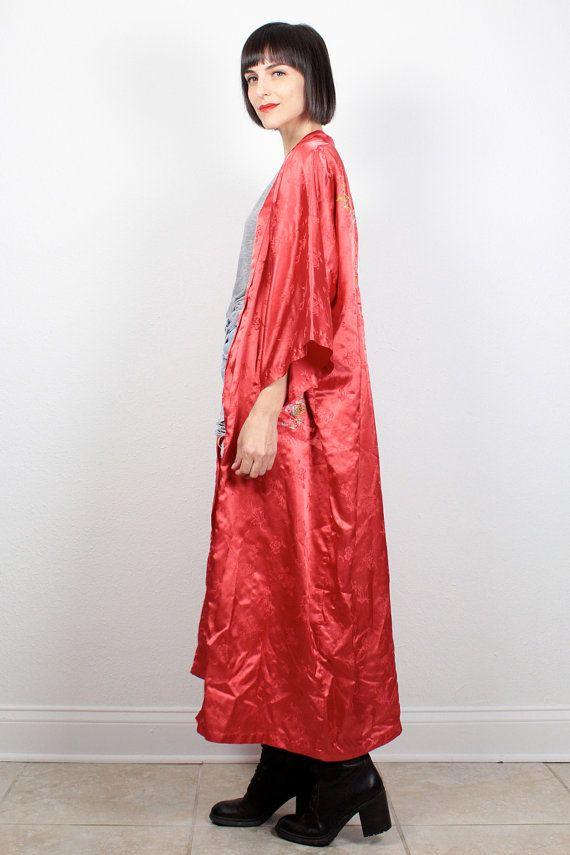 black embroidered red Asian kamono vintage