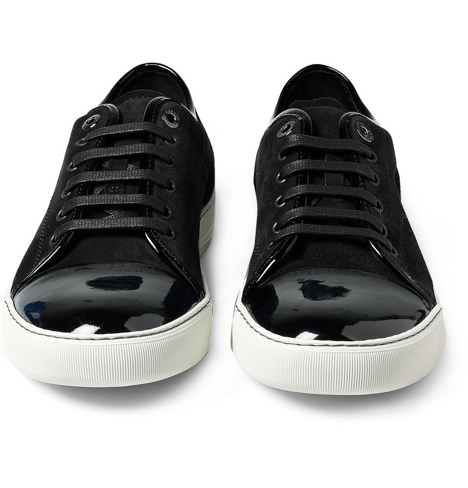 Lanvin - Patent Leather Toe Suede Sneakers