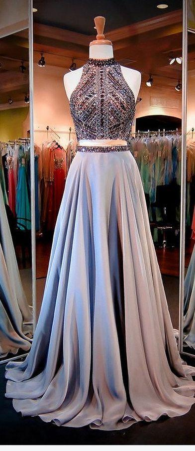 Two Piece High Neck Open Back Long Grey Prom Dress with Beading 7b0aa59de90e