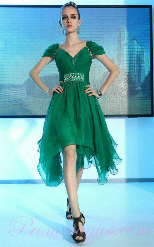Cap Sleeve ASYM Hem Chiffon Green Cocktail Dress