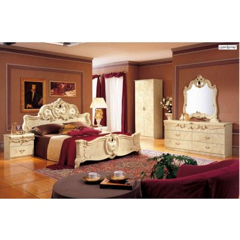 Barocco Classic Bedroom Set in Ivory - Queen Size Furniture - Italian Bedroom Sets