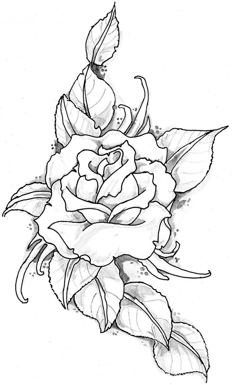 Rose Tattoo Image By Eltattooartist On Deviantart Rozen Tekening Bloemen Tekenen Roos Tekeningen