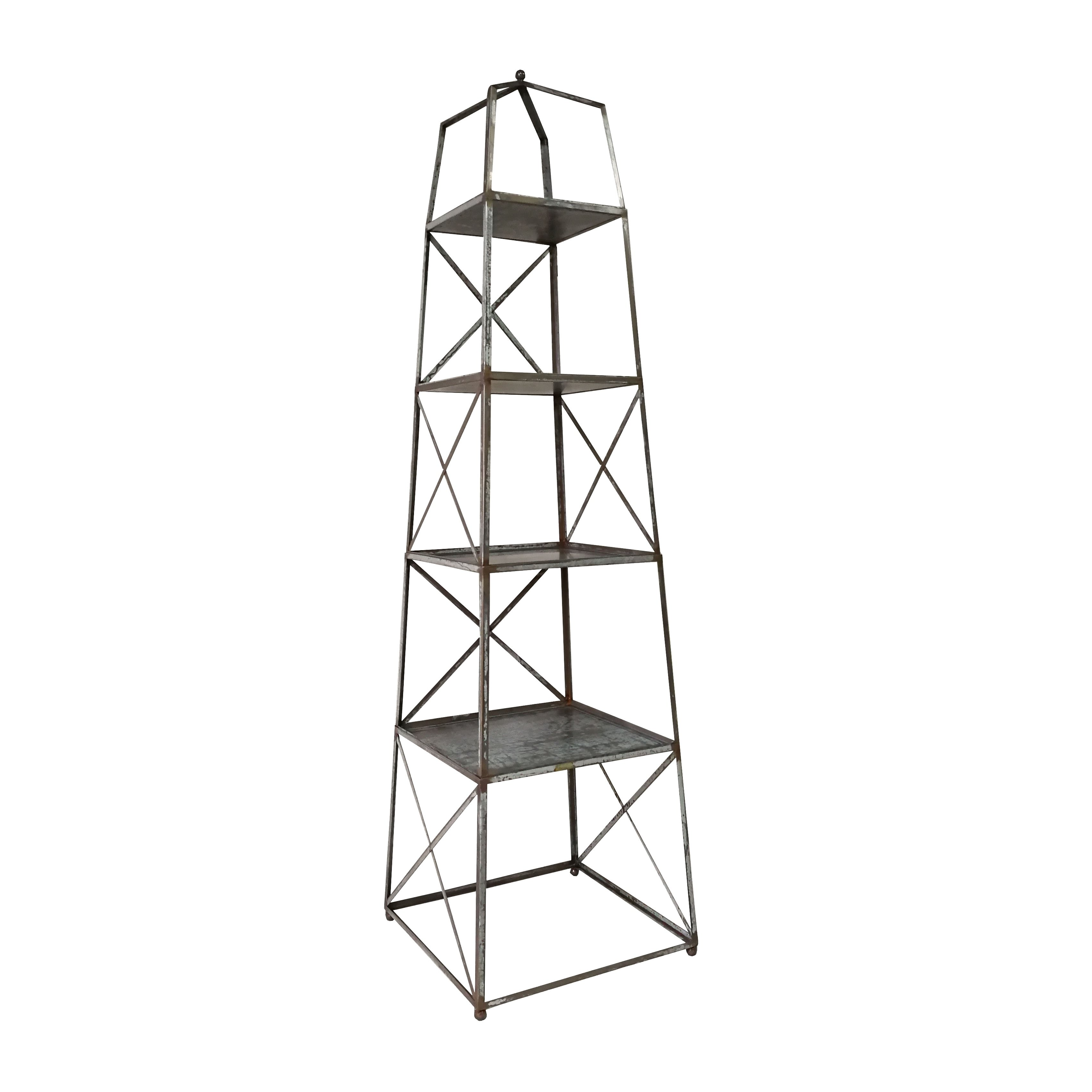 A and B Home Antique Metal 4tier Shelf, Silver in 2019