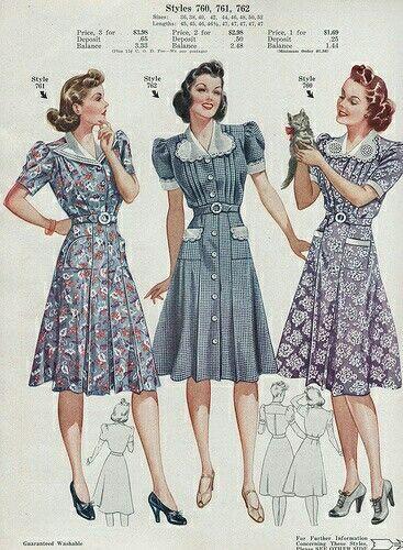 Beautoful Ladies Day Dresses Shown Here In The Vendors Sales Material To Be Shown To Potential Retai Stil Pyatidesyatyh Vintazhnye Platya Vintazhnye Platya 50 Yh