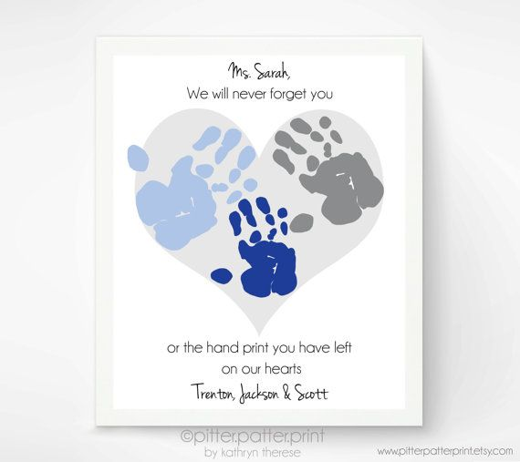 Gift For Teacher Nanny Daycare Babysitter Handprint Heart Etsy Babysitter Gifts Daycare Gifts Teacher Gifts