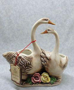 Capodimonte Double Swan Goose Planter Capodimonte