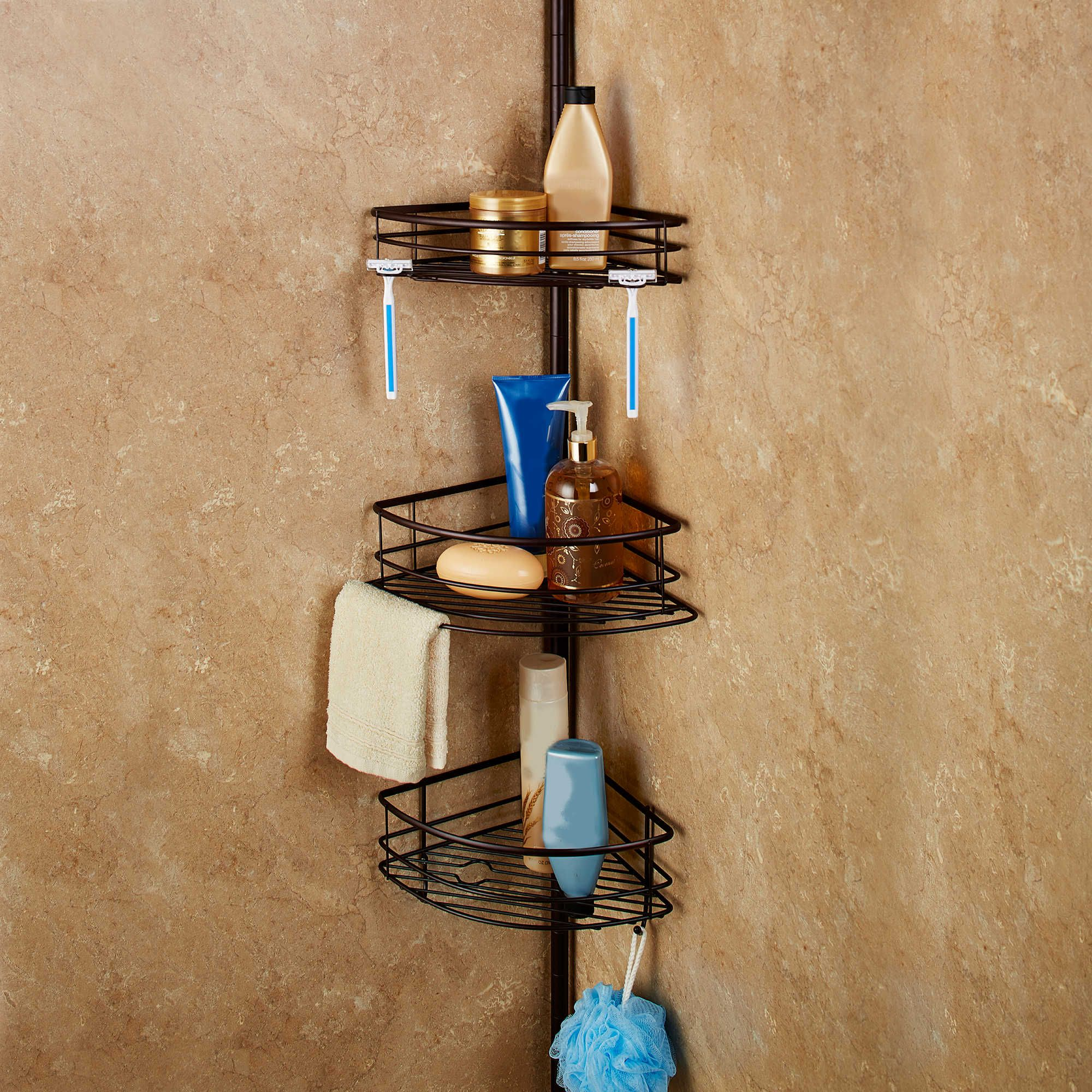 Spa Creations™ Oversized 3-Tier Pole Caddy with Shelves in Matte ...
