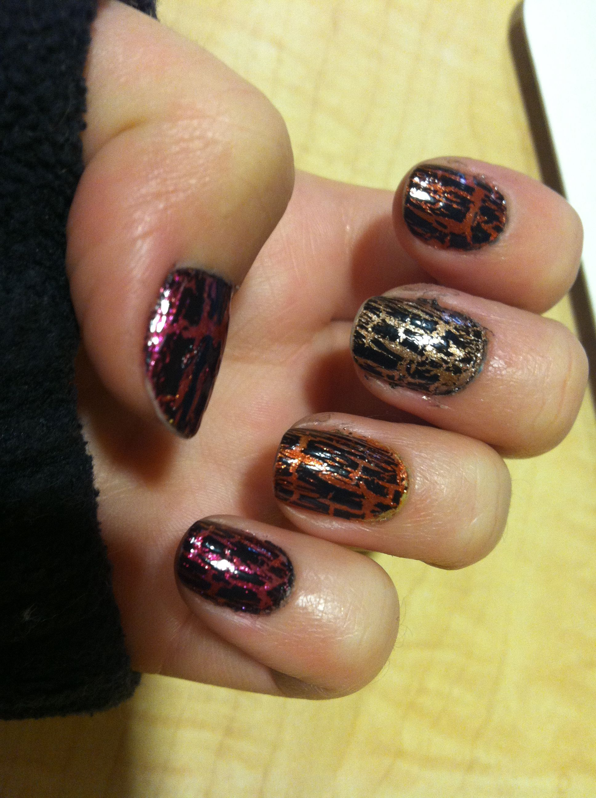 Black crackle with fall colors underneath