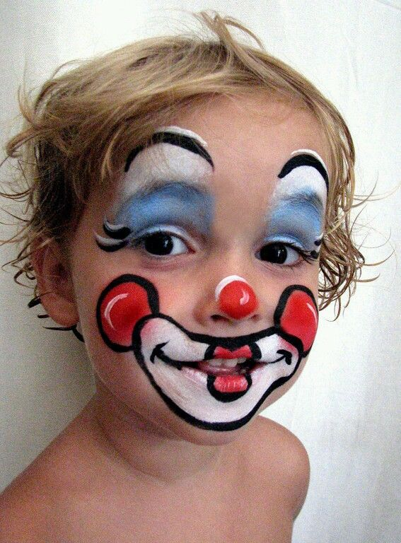 Simple Clown Face Paint : simple, clown, paint, Simple, Clown, Paint, Painting, Halloween,, Easy,