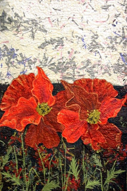 Detail of Senga Bain's quilt 'The Commonwealth Remembers - Coming Home!'.  See at the 2014 Loch Lomond Quilt Show #lochlomond