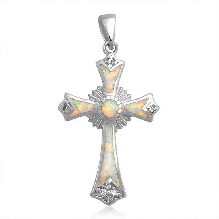 925 Sterling Silver Gemstone CZ White Opal Cross Pendant