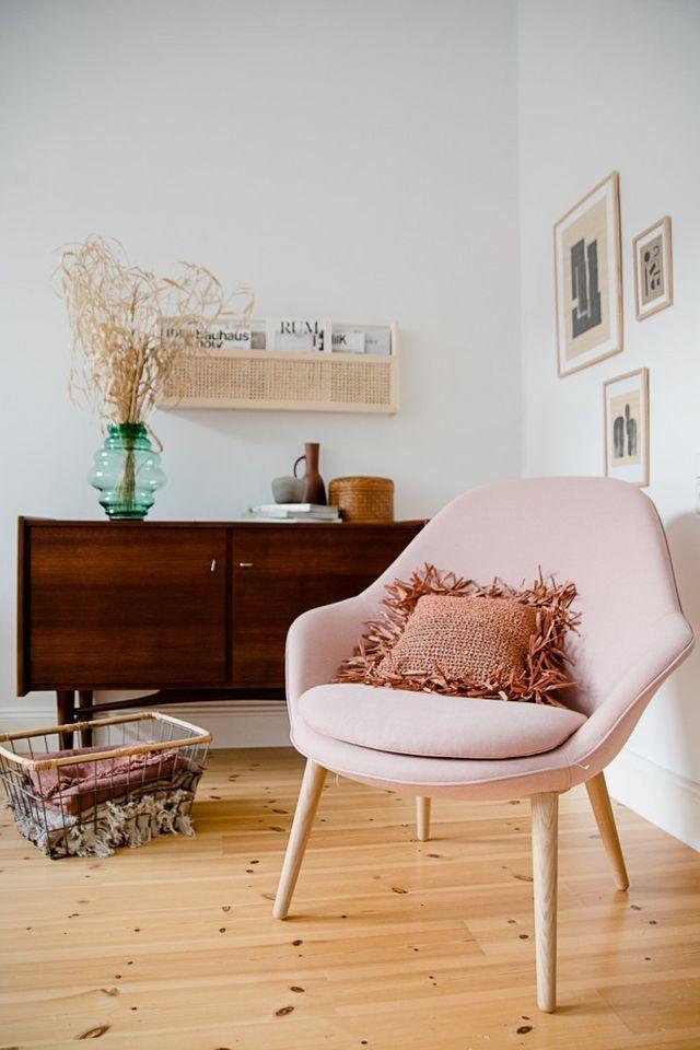 Drei Einrichtungsideen für den Adelaide Sessel in rosa von
