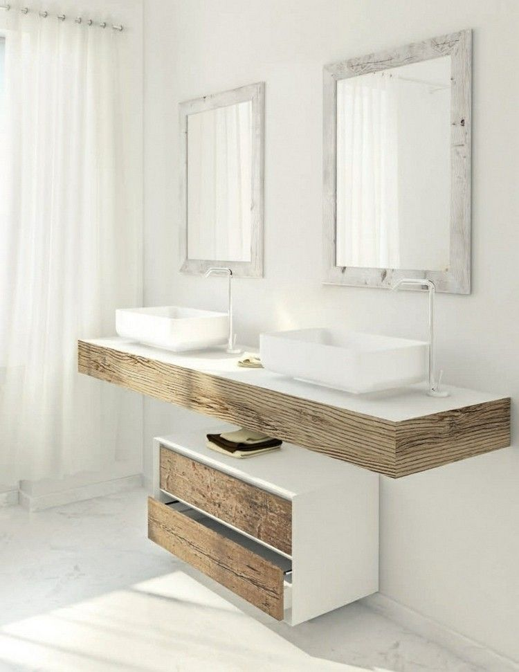 meuble vasque salle de bain en bois patin et blanc mat sdb greg pinterest salle de bain. Black Bedroom Furniture Sets. Home Design Ideas