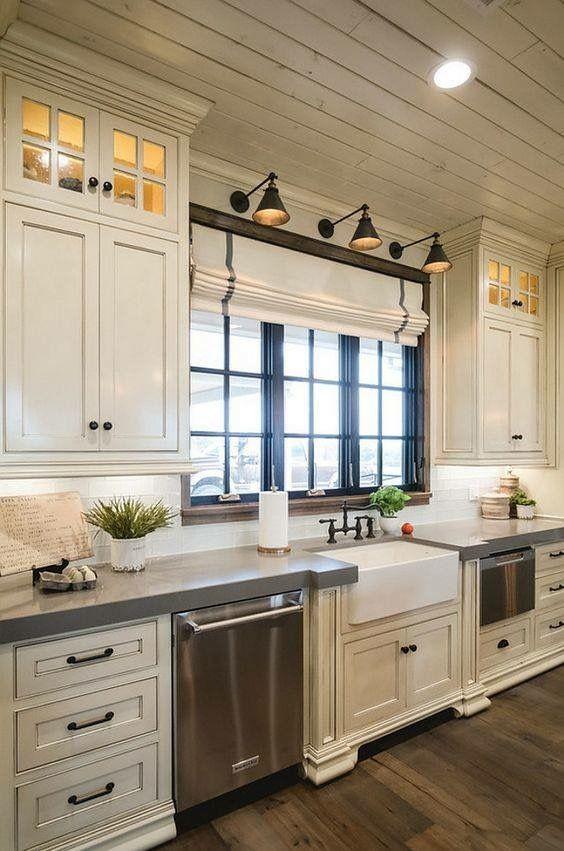 Dark Trim Around Window And The Lights Over It Diy Kitchen Remodel Farmhouse Kitchen Design Farmhouse Style Kitchen