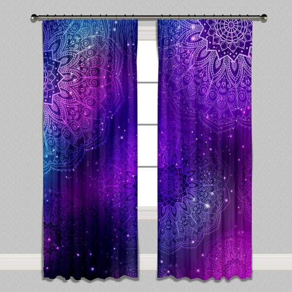 Boho Purple Pink Teal and Blue Mandala Curtains -   13 room decor For Teen Girls curtains ideas