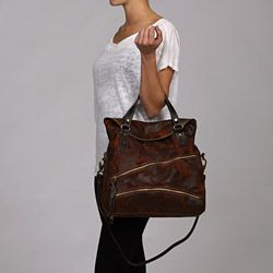 Marco Buggiani Italian Designer Leather Tote with Shoulder Strap