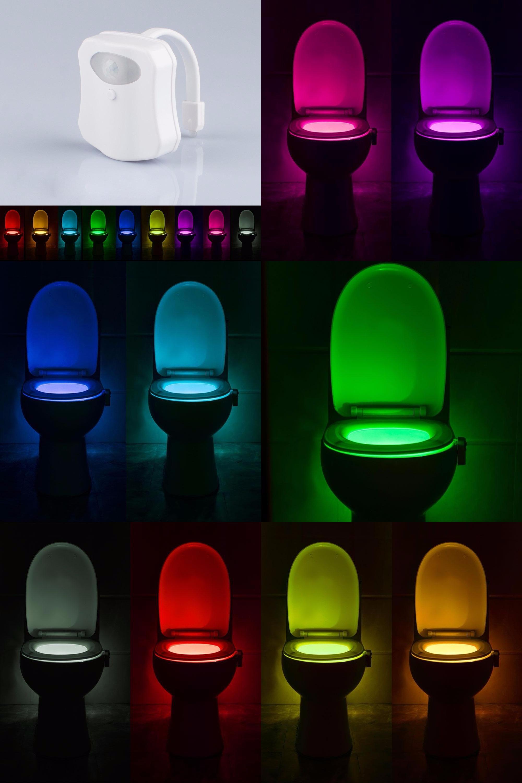 Visit to Buy] Human Motion Sensor LED Night Lights Auto 9 Color ...