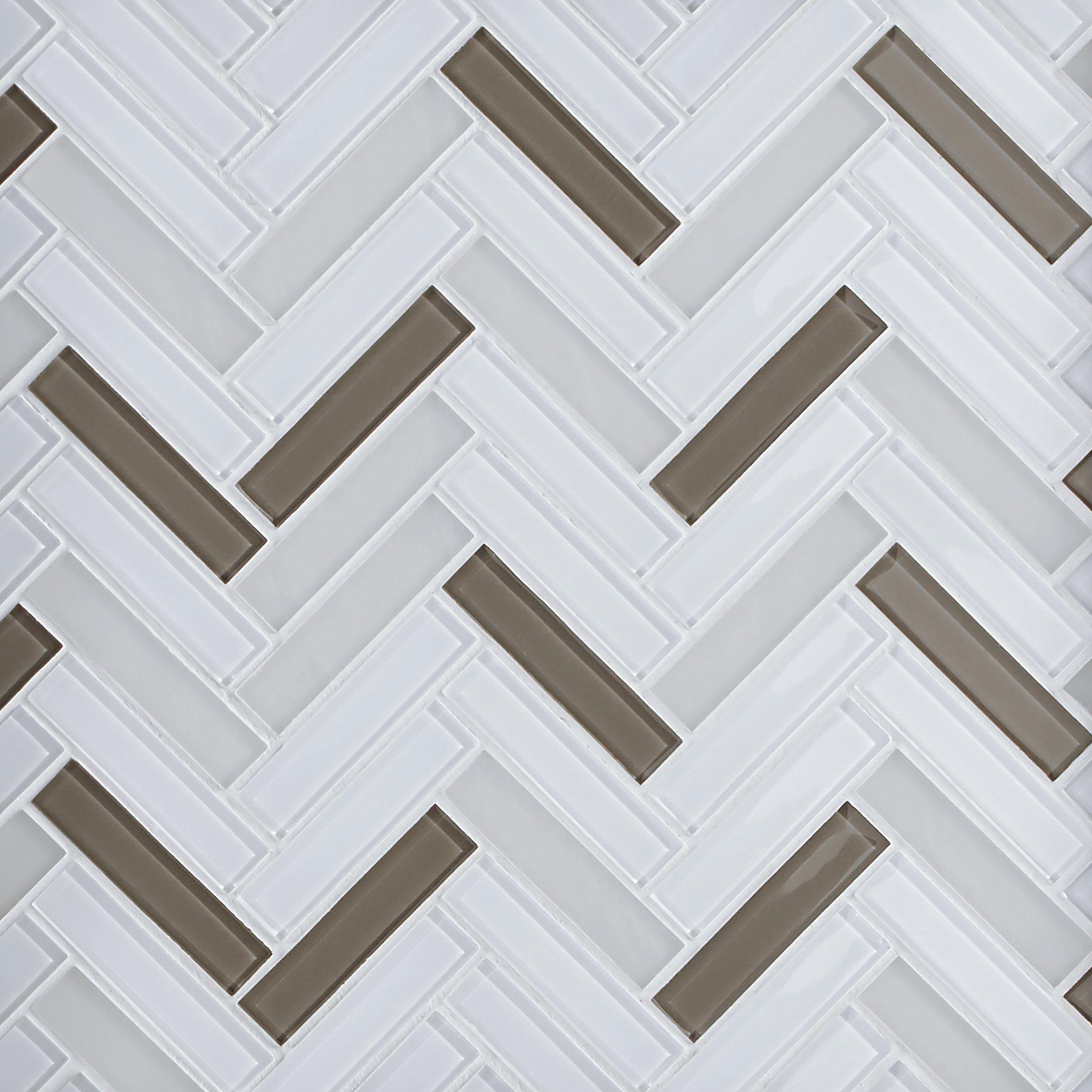 Sandhill Herringbone Glass Mosaic Glass Mosaic Tile Backsplash
