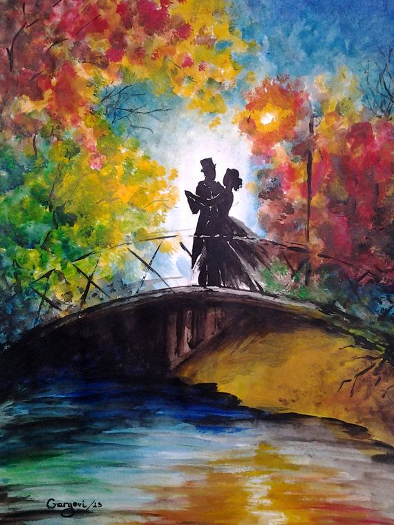 Dancing To The River Original Watercolor Night Landscape Love Couple Dance Abstract Painting Fine Art By Garg Fine Art Painting Art Abstract Painting