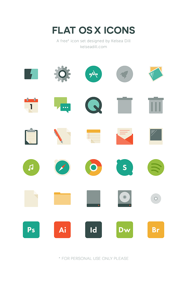 Flat OS X Icons (Free Download) by Kelsea Dill, via Behance