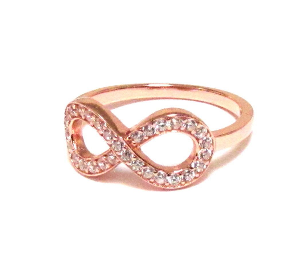 Infinity RingRose Gold Over Sterling Silver Ring With Hand Set